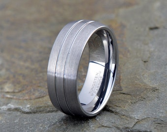 Brushed Tungsten Ring, Mens Women's Tungsten Wedding Band, Grooved two Lines, 8mm, Comfort fit, Tungsten Carbide, Brushed Tungsten Ring