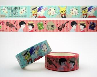 2 Whisper Of The Heart Japanese washi tape rolls - Studio Ghibli kawaii masking tape - Hayao Miyazaki - Shizuku - Seiji - The Baron cat