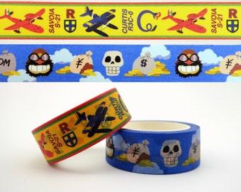 2 Porco Rosso Japanese washi tape rolls - Studio Ghibli kawaii masking tape - Hayao Miyazaki - Crimson Pig - Mamma Aiuto - airplane - skull