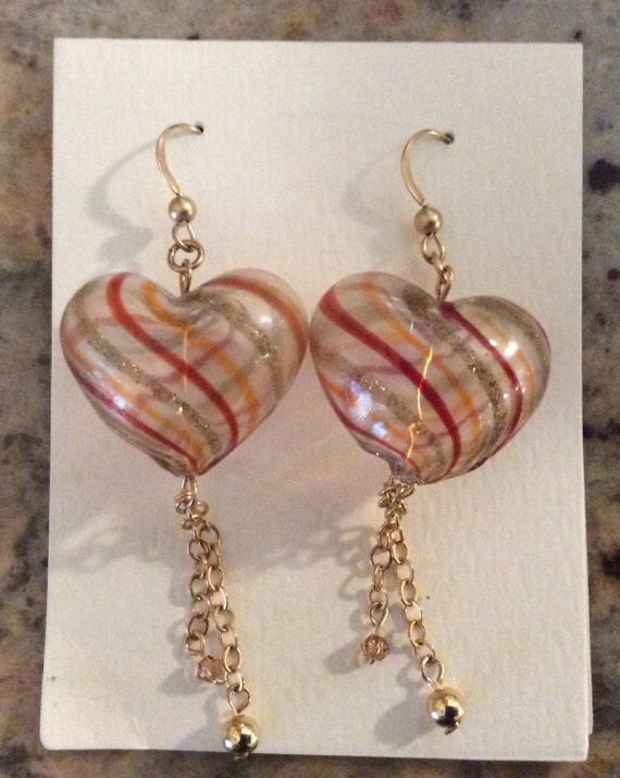 Hand Blown Heart Shaped Bead Earrings, Gold Filled Ear Wires, Chain and Bead