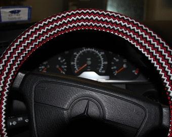 Chevron Steering wheel cover - Black and White  Red wheel cover - Winter wheel cover - holiday's gift - Women's wheel cover .