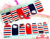 Hello Kitty one set of Full Nail polish strips wraps stickers Salon ~QJ-1092