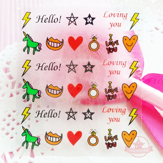 Mouth self adhesive colorful nail art stickers transfer decals n1 20