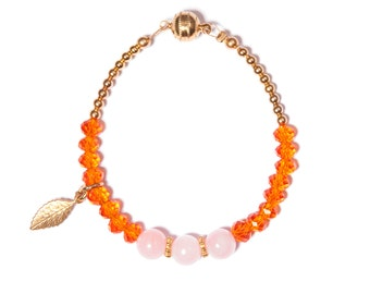 """Bracelet """"Nikita"""" crystal rose quartz beads Golden, orange gold"""