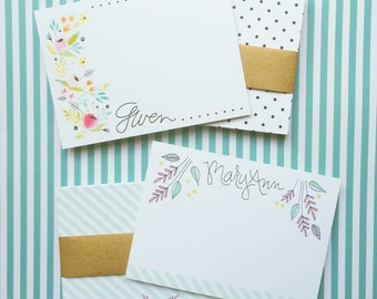 Personalized Floral Notecards