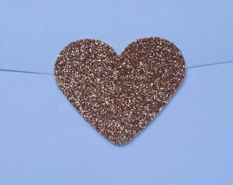 Large Sparkly Glamour Rose Gold Glitter Heart Envelope Seals For Wedding And Events - Sweet Love stickers x 25
