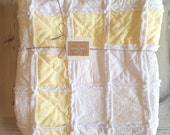 Vintage White and Yellow Baby Rag Quilt -The Savannah- Modern Rag Quilt - Modern Baby Blanket - Vintage Baby Blanket - Vintage Quilt