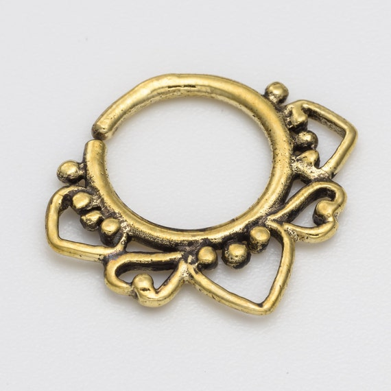 18g Brass Septum Ring for pierced nose. Available in gold plated, brass, Sterling silver and oxidized sterling silver