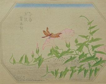 "Ukiyoe, Original Sōsaku-hanga, Woodblock print, antique, Tokuriki Tomikichiro, ""Calystegia japonica"""