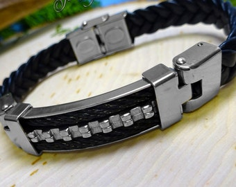 Jagged Edge Stainless Steel 2-Tone Twisted Cable Leather Bracelet