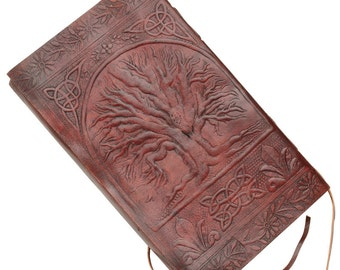 """Large Tree_Of_Life Embossed Handmade Genuine Leather Journal Diary 9"""" by 5"""" - Coptic Bound"""