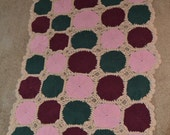"100% Cotton Afghan Blanket- Mauve Pink, Bourgandy, Forest Green, Beige 41"" X 30"""