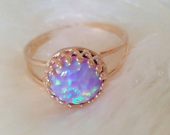 PINK OPAL RING Delicate gold ring with pink opal gemstone 14 k gold plated ring pink opal ring
