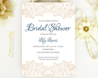 Lace Bridal Shower Invitations - Ecru and Blue wedding shower invitations printed on luxury pearlescent paper | Cheap bridal shower cards