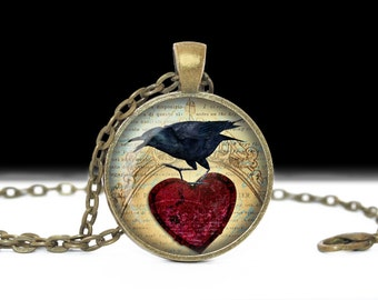 Raven Necklace Raven Jewelry Bird Nest Pendant Wearabel Art Raven Keychain Raven with heart Blackbird Jewelry Raven Jewelry