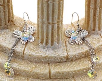 Small butterfly crystal earrings