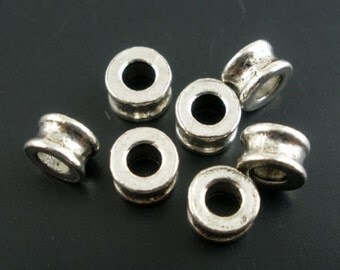 50 PCs Silver Tone Spacers Beads 6x4mm