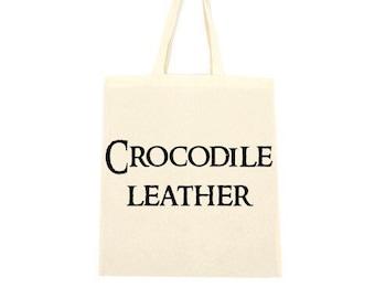 cotton tote bag, crocodile leather