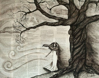 The Tree - Original mixed media painting by Chrissie Brown (Framed)