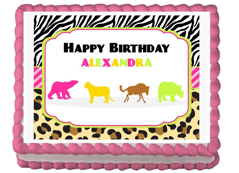 Wild safari animals zebra leopard print edible birthday party for Animal print edible cake decoration