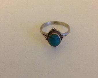 Handmade Vintage Sterling Silver Turquoise Ring Boho Size 7 (medium), bohemian jewelry, bohemian ring