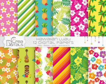 Hawaiian Luau - 12 digital paper pack - INSTANT DOWNLOAD