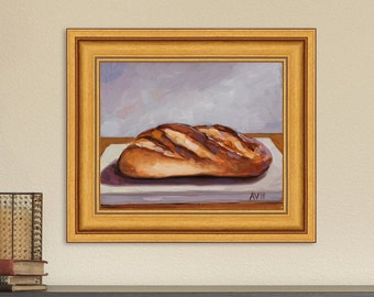 Original Oil Painting Still Life, Bread by Aleksey Vaynshteyn