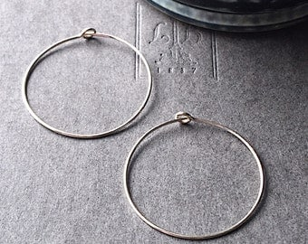 Beading Hoop Earring 30mm Sterling Silver Hand Formed Ear Wire Two Pair (Four Pieces)