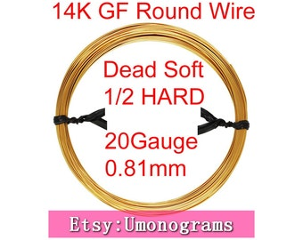 "20 Gauge .032"" 0.81mm Dead Soft / Half Hard Round Wire 14K Yellow Gold Filled Wholesale BULK DIY Jewelry Findings 1/20 14kt GF"