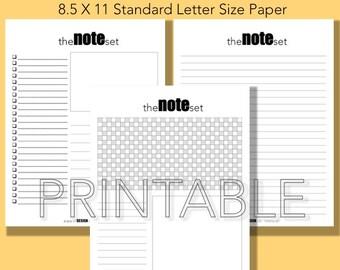 Note Set, Printable Note Set Instant Download
