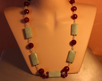 Carved Jade & Agate Necklace, 925 Sterling Silver, hand made