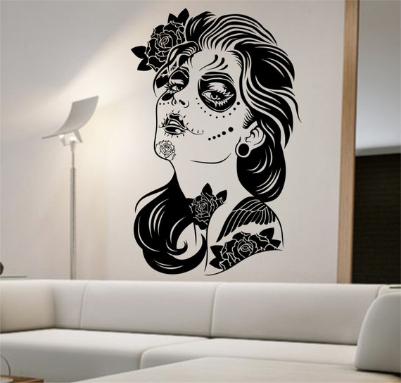 Day of the dead wall decal roses girl vinyl by stateofthewall for Back mural tattoo designs