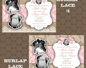 Burlap Lace Blush Pink Baby Shower Invitations Thank You Cards Printable Uprint Digital Printed * READ DESCRIPTION *