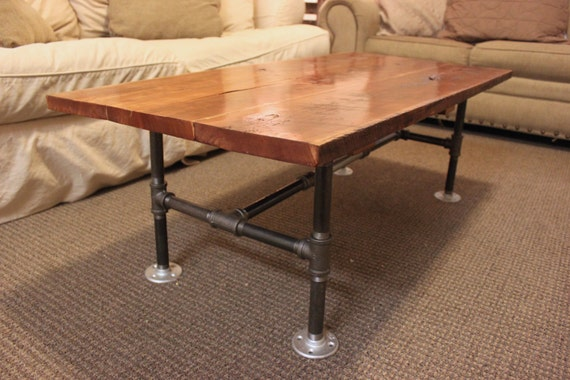 SOLD Reclaimed Wood Solid Cherry Coffee Table with Steel Piping