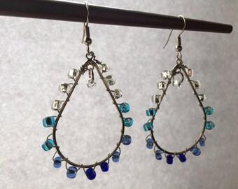 Teardrop ombre glass bead earrings