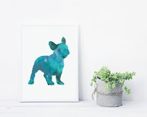 Turquoise French Bulldog, Giclee Art Print, Französische Bulldogge Aquarelle, Watercolor Animal Prints