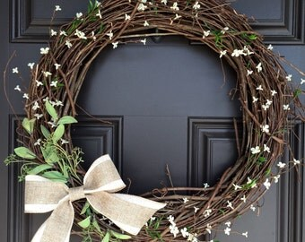 Rustic, all season wreath with burlap and linen bow and white accents; Monogram wreath