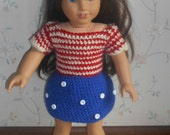 American Girl Doll Crocheted 4th Of July Outfit