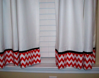 Chevron cafe curtains - 2 panels/ Tiers - Valance sold separately / Kitchen, Laundry,Sun-room, Bedroom