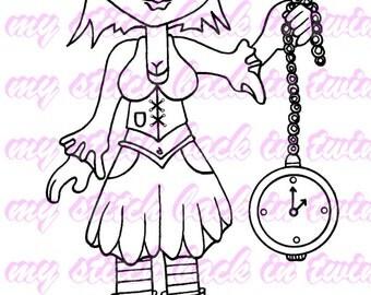 Digital stamp colouring image - Steampunk time keeper Charlee . jpeg / png