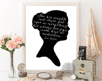 Jane Austen printable quote She was sensible and clever but eager quote typography printable quote literature poster girl art print wall art