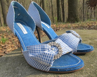 Vintage Gingham - Blue and White Shoes