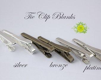 10pcs Tie Clips Blank,tie tack-tie clips men,tie bar clip,tie pin,simple silver plated Tieclips,Tray Clips,Men grooms tieclips 3 color