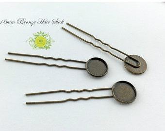 Hair Slider-Simple Hair Stick-Hair Pin with 16mm glass cabochon bezel cup-bun holder-hair comb-20pcs/lot 0824
