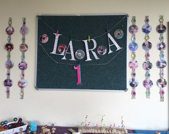 Music themed party - name banner and cd decor