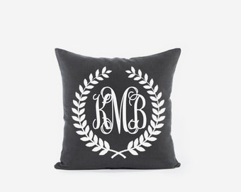 Monogram throw pillow cover 18x18 Personalized decorative pillow cases Initials cushion covers 22x22 Custom cushion cases Wedding gift ideas