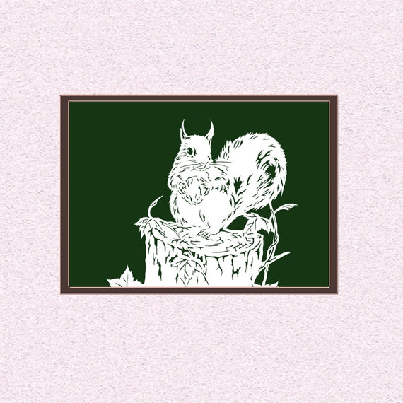 Squirrel Instant Download Papercutting Template Wild Cute