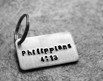 Philippians 4:13 Keychain, Bible Verse Keychain, I Can Do All Things Through Christ Who Strengthens Me, Religious Jewelry, christian Keyring