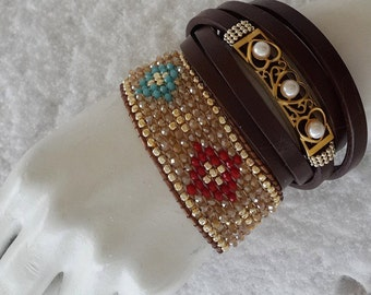 crystal and leather bracelets