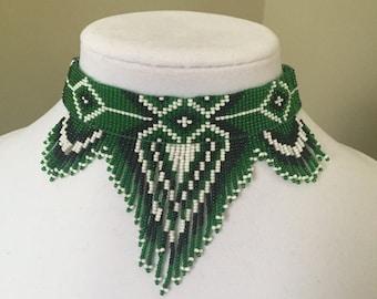 Native American Style Choker, Beaded Choker Necklace, Seed Bead Necklace, Folk Necklace, Bib Necklace, Green Necklace
